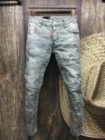 Wholesale MAN Summer men s Slim jeans shorts hole patch jeans locomotive times throwing paint beach pants GRAY
