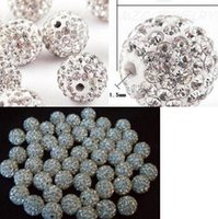 Wholesale hotsale mm white clear Crystal Shamballa Bead Bracelet Necklace Beads jewelry making Hot spacer beads Rhinestone DIY spacer