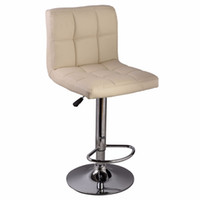 bar stools white - 1PC Off White Bar Stool PU Leather Barstools Chair Adjustable Counter Swivel Pub