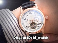 al leather - Super Clone Luxury Brand Cheap New MM Tourbillon Rose Gold White Black Dial Mens Watch Gents Watches Leather Starp AL A01