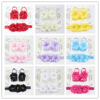 barefoot baby - Trial Order Barefoot Baby Sandals Matching Triple Chiffon Flower Headband colors