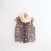 bebe fur collar - 2016 Baby Girls Leopard Faux Fur Waistcoats Kids Girls Princess Fashion Vest Girl Autumn Winter Warm Outwear bebe Christmas clothing