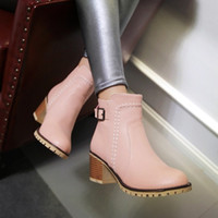 beige platform booties - Women Leather Ankle Boots Pink Black Fashion Platform Chunky High Heels Buckle Straps Short Booties Woman Autumn Winter Shoes