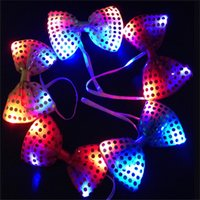 Wholesale Halloween Costumes Led Shinnging Ties Necktie Luminous Night Glowing Necktie Flashing Bow Tie Toys for Event Party Mix Color with Battery