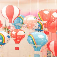 balloons party shop - 16 inch Rainbow Hot Air Balloon Paper Lantern Birthday Party Wedding Decor Colour shopping mall kindergarten ornaments decoration
