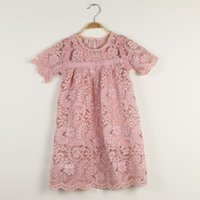 baby inner - Sweet Baby Girls Lace Embroidered Flower Flare Sleeve Princess Dres With Inner Suspender Dress Hollow Out Whoesale Dress