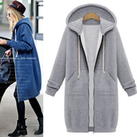 Wholesale Fashion Womens Long Hoodies Black Grey Blue Winter Casual Sweatshirt Long Sleeve Hooded Zip Up Fleece Sport Hoodies Coat CQF0935