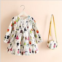 Wholesale 12 Colors Choice Girls Autumn Long Sleeve Linen Princess Dresses with Bag Children European Fashion Pretty Floral Printed Dresses