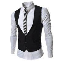 Wholesale new fashion Pocket Panelled slim Men s vests Casual men s Outerwear men s cost gray