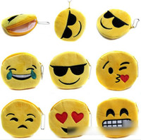 Wholesale 10 Design QQ Expression Coin Purses Cute Emoji Coin Bags Plush Pendant Womens Girls Creative Chirstmas Gifts High Quality cm