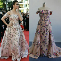 Wholesale Myriam Fares Aishwarya Rai Celebrity Dresses Cannes Film Festival Real Images Embroidery Beaded Evening Gowns with Detachable Overskirt