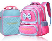 Wholesale 2016 Children Girls Candy Color Bow Korean School Bags Rose Blue Kids Backpack Breathable Great Quality Bags B4123
