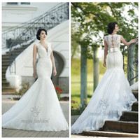 Wholesale 2017 V Neck Mermaid Wedding Dresses Lace Bow Back Slim Modest Bridal Gowns Formal Vintage New Design Vestidos De Novia