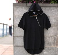 Wholesale 2016 new models to increase crime simple black short sleeved T shirt lengthened punk rock zipper Hoodie M XL