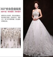 Wholesale 2016 Hot sale Luxury Soft tulle hand made flower Sweetheart Beads Crystal Royal train custom size Wedding Dresses
