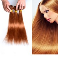 Pelo sedoso de la Virgen brasileña recta 3 paquetes destacan color de la extensión del pelo marrón 30 # Tejido del pelo humano