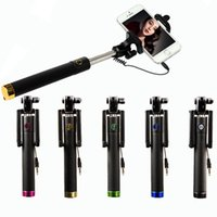 Wholesale Colorful Monopod Selfie Stick Handheld Foldable Telescope Cable Extendable Mount Holder Monopod Wried For iPhone S Plus Samsung Galaxy S7