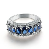 Wholesale Pink Blue CZ Diamond Pave Ring Zirconia Weddings Ring Handmade Topaz Colored Zircon Jewelry for Women