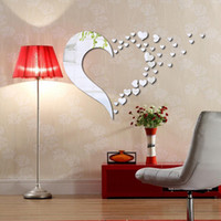 Wholesale 3D Love Heart Arcylic Mirror Wall Stickers DIY Art Decal Removeable Wallpaper Mural Sticker for Living Room Bedroom LM1021 Black Silver Gold