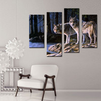 arctic arts - 4 Pieces Wall Art Decor Picture of Two White Arctic Wolves in The Woods In Winter Animal Wolf Oil Painting on Canvas For Home Decoration