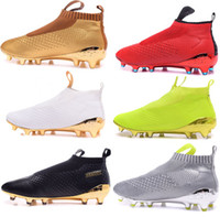 Wholesale Cheap Kids Mens Womens Soccer Cleats ACE Purecontrol FG High Tops Football Boots Sales Soccer Boots Pure Control Soccer Shoes kid Green