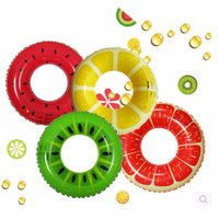 Wholesale Fruit Style Watermelon Grapefruit Lemon Cartoon Kids and Child Thicken PVC Swimming Ring Floating Rings Inflatable Swiming Laps