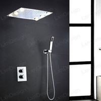 bathroom wall colors - 360 mm Chrome LED Rain Shower Head Multi Colors Remote Control Temperature thermostatic Bathroom Shower Stainless Steel bathroom set