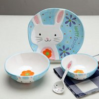 Wholesale 4 pieces of ceramic children s tableware lovely cartoon bowl plate gift set D hand painted animal bowl