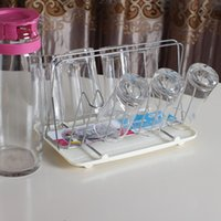 antibiotics water - Stainless steel square cup holder with tray Bottle Drying Rack Antibiotic Drainer Dryer Shelf water glass mug holder