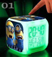 Wholesale 2016 New Hot Alarm Clock with LED game action toy figures minions frozen Electronic Toys My Neighbor Totoro MYF228 LED Colors Change