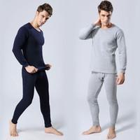Wholesale Men Thermal Underwear Set Inner Wear Undershirt Long Pants Warm Tops Full Outfit