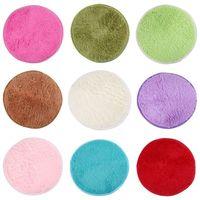 acrylic shower doors - 1PCS cm Fluffy Round Foam Rug Non Slip Shower Bedroom Mat Door Floor Carpet Round Rug Colors Available