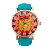 auto paint cheap - Newly Design Art Paint Owl Printed Watch Faux Leather Analog Men Women Geneva Watches Cheap watch heart