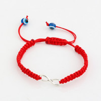 antique line - Hot New men and women fashions Acrylic eyes Antique silver Alloy Infinity Red Wax line Hand made Weave Adjustable Bracelet