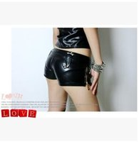 Wholesale Korean Slim Skinny Models - The new models in sexy black leather shorts shorts European and American Bar ds costumes JAZZ jazz Korean female tide