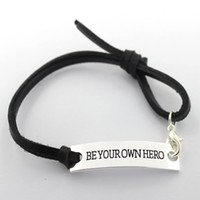 Wholesale Eosmer stamped inspiring bracelet Be you own hero Encourage quote bracelet black stamped Inspiring gift bracelet