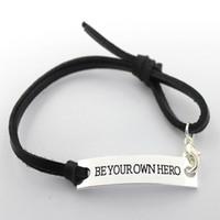 Wholesale Eosmer stamped inspiring bracelet Be you own hero Encourage quote bracelet black stamped Inspiring gift bracelet