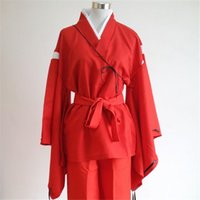 Wholesale Inuyasha Anime Cosplay Complete Set Coat Around The Game Costumes Japanese Samurai Clothes Red Color Unisex S XL