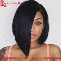 Wholesale Unprocessed Virgin Brazilian Short Bob Wig For Black Women Glueless Short Bob Lace Wigs Human Hair Straight Bob Full Lace Wigs Bleached Knot