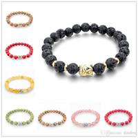 bar agate - 2016 Black Lava Stone Bead Buddha Bracelets For Women and Men Jewelry Natural Stone Bracelets Bangles Pulseras