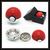 Wholesale Pokeball Grinder mm Poke Ball Herb Grinders Metal Zinc Alloy Plastic Metal Grinders Parts Smoking Accessories