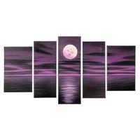 art work frames - Hand Made Oil Painting on Cnavas Bright Purple Moon Panels Wood Frame Living Room Art Work Home Decoration