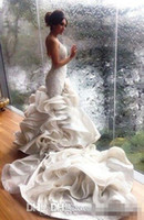 Cheap Real Image Mermaid Wedding Dresses 2016 V Neck Lace Cascading Ruffles Chapel Train Plus Size Summer Garden Bridal Gowns Vestidos De Novia