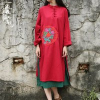 Wholesale 2016 new Styles of Republic of China Autumn folk style dress long sleeved shirt skirt dress gown skirt cotton backing art fan