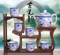 Wholesale creative head flat blue and white porcelain tea set kung fu tea set Mid Autumn festival gift set bowl suit the teapot