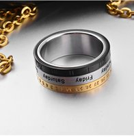 african calendar - Europe and the United States steel ring ring rotation calendar time ring titanium color