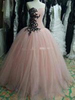 art photo black and white - Real Photo Princess Ball Gown Pink Prom Dresses Party Dress with Black Lace Appliques and Sequins Vestido de Festa Vestidos Longo Evening Go
