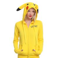 animal long tail - 2016 New Fashion Poke Face Tail Zip Hoodie Hoody Sweatshirt Pikachu Costume Casual Sport Printing Hooded Sweater
