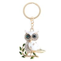 animal accesories - Hot Fashion Owl Bird Branch Love Charm Pendant White Accesories Crystal Set Auger Shell Key Chain Send Friend Creative Gift