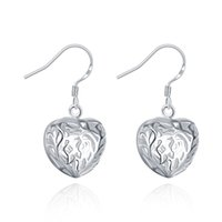 african jewelries - Fashion Stud Earrings Women Silver Hollow Heart Earrings Female Jewelry For Girls Sterling Party Jewelries Bohemian Style ER